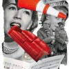 collage of images including: faces, people, music notation, sofa and trafic cone