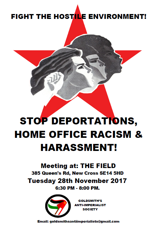 flyer image: red star with peoples' faces and a fist - text: stop deportations, home office racism & harassment! plus details of the event